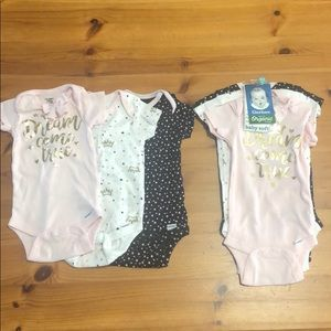 Onesies 3 size 3-9 mo(with tags) and 3 size 12 mo